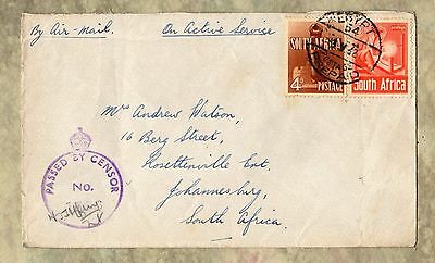 SOUTH AFRICA On Active Service PASSED BY CENSOR 1942 EGYPT Stamps ENVELOPE