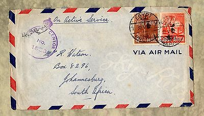 SOUTH AFRICA Passed By Censor 1940s? EGYPT On Active Service STAMPS Envelope