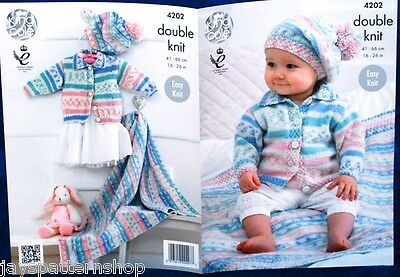 Babies Childs Double Knit Easy Jacket Cardigan Blanket Hat Pattern 16 - 26 Inch