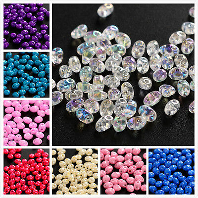 100pcs 200pcs Czech Glass Seed Beads Two Hole beads 2.5x5mm SuperDuo DIY Making
