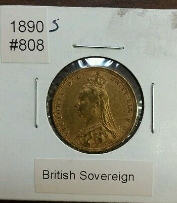 """1890 """"S"""" British Gold Sovereign Gold Coin!!!"""