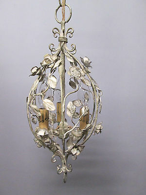 Vintage Antique Italian Tole Shabby Chic Petite Chandelier Ceiling Light