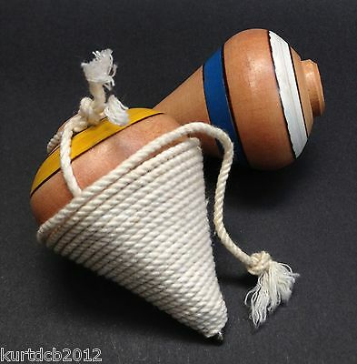 """Wood Spinning Top """"Varnished"""", El Salvador hand made trompo w/ rope Boys & Girls"""