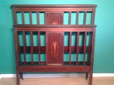 Edwardian Sheraton revival inlaid mahogany  4'6 double rail bed bedstead