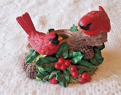 Christmas Winter Cardinal and Holly Candle Holder