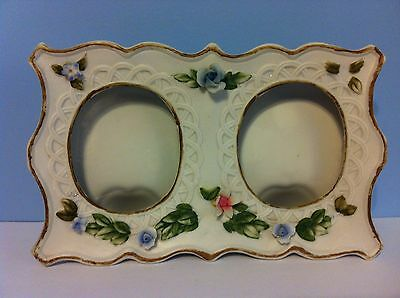 Lefton Double Stand Alone Porcelain Photo Frame Decorated with Colorful Flowers