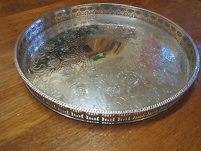 Old Antique Chased Round Silver Plate Old Sheffield Style Champagne Wine Tray