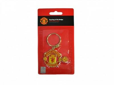 Manchester United FC Crest Pin Badge Red Gold Metal Keyring Set Gift Official
