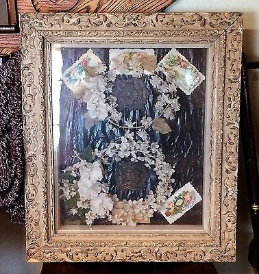 Antique Victorian Wedding Shadow Box Floral Headpieces Cards Ornate Frame