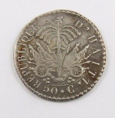 Haiti 50 Centimes An 25 (1828) F/vf Condition National Arms.
