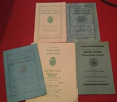 5x SOUTH COAST CHAMPION REGATTA ROWING SOUVENIR PROGRAMMES.57,58,61,63,64.