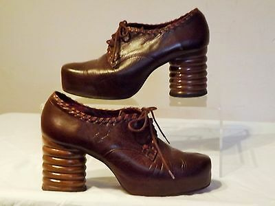 Vintage SHELLYS of LONDON ~ Brown Leather Amazing Heels Lace Up Shoes 3