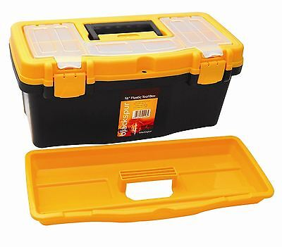 Large Plastic Tool Box with Handle Tray & Compartment Storage