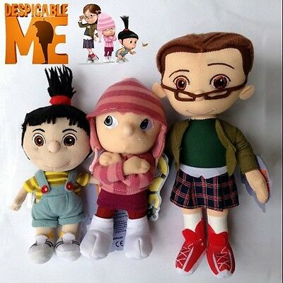 """3X Despicable Me Orphan Girls Margo Edith Agnes Soft Doll Plush Toy Figure 7""""-9"""""""