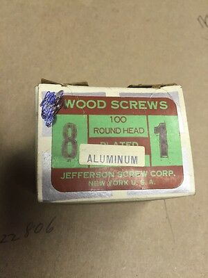 Vintage #8 X 1 Round Head Aluminum Wood Screws 100 Per Box Jefferson