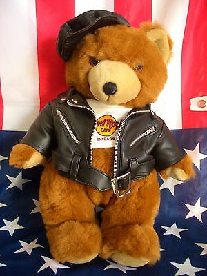 HRC Hard Rock Cafe Chicago Jumbo Biker Teddy Bear 14`` 45cm
