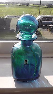Mdina  c.1969 Art Glass Bottle and Stopper 22cm tall by 11cm by 11cm  Blue