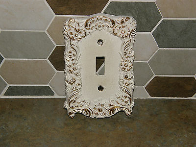 Vintage Mid Century Hollywood Regency Ivory Gold Gilt Outlet Switch Plate Cover