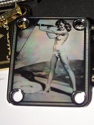 Chrome Engraved Pin Up Ahoy Guitar Neck Plate  fits Fender tele/strat/squier