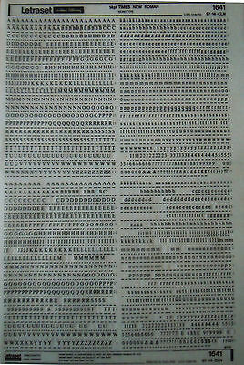 LETRASET Rub On Letter Transfers TIMES NEW ROMAN 14pt (#1641) used