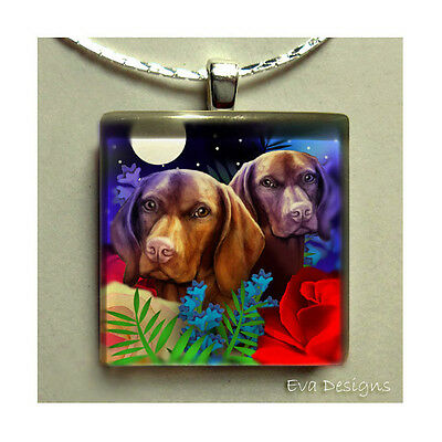 Hungarian Vizsla Dog Necklace Jewelry Charm Charm Art Pet Glass Tile Pendant