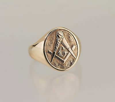 14kt Gold Mens Masonic Ring Size 10 With Solid Back 14 grams