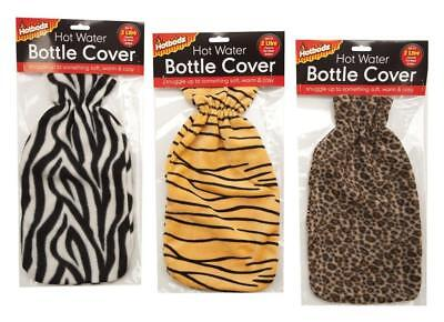 Zebra Tiger Leopard Soft Fleece Hot Water Bottle Cover Fits 2 Ltr Bottles Xmas G