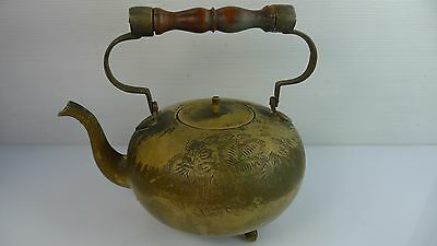An Old/ Vintage Solid Brass Tea Pot With A Wooden Carrying Handle