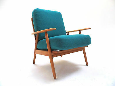 Vintage Danish Beech & Turquoise Blue Lounge Armchair Midcentury Chair 1960s