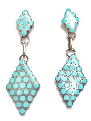 Old Pawn Beautiful Zuni Sterling Silver Turquoise Inlay French Hook Earrings