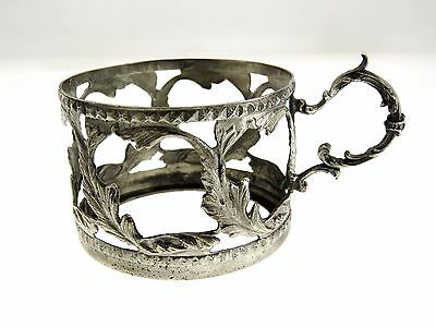 Old vintage solid silver 800 Cup holder with herbal ornament Germany 56g 1920