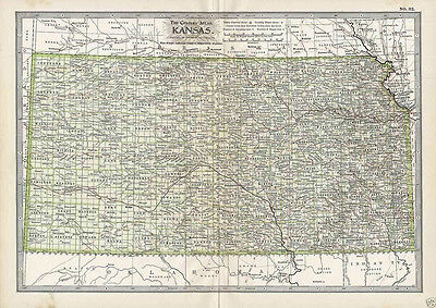 Antique Dated 1897 Map Of Kansas W/ Indian Reservations & Railroads  Historical