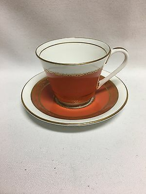 Aynsley Gretna Orange Rust Demitasse Cup Saucer