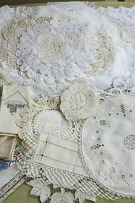 Large Lot of Table Linens Lace Edged Embroidered Mostly Hand Made Cotton Linen