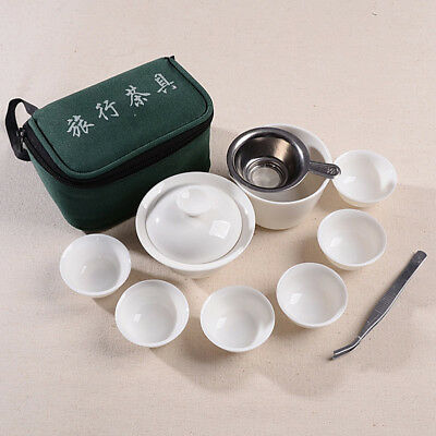 10pcs+1 White Travel Kungfu Tea Set for Puer Oolong Tea with Folder Giawan Cup E