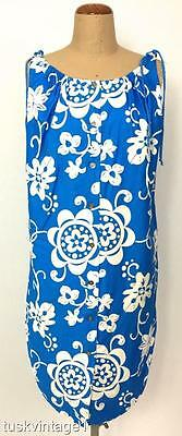 VINTAGE 60s azure BLUE white ROYAL HAWAIIAN polished COTTON sun dress 14