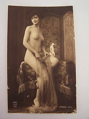 Vintage RP Postcard French Nude Woman A N Paris J Mangel No 256 with Statue