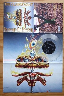 "Ex/ex Iron Maiden The Clairvoyant Poster Sleeve 1986 7"" Clear Vinyl Em 5589"