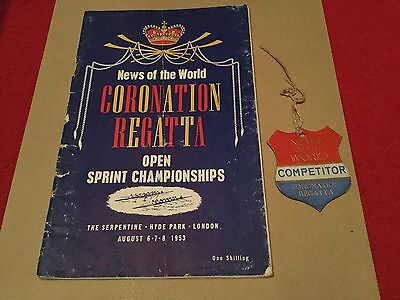 News Of The World Coronation Championship Regatta.programme & Competitor Badge
