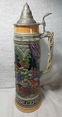 "Large Antique Stein Gerz 3262 Hunter German Pitcher 18"" Tall 3L Pewter Lid great"