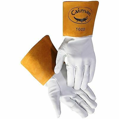 Caiman White Goatskin Long Cuff Welding-Tig/Mig Large New Gloves
