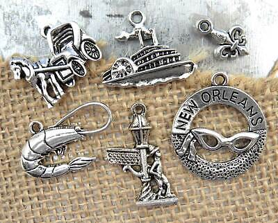 6 NEW ORLEANS Charms, Mardi Gras, Antique Silver Mixed Charm Collection Set