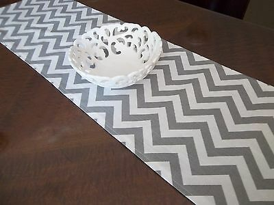 Hopscotch Table Runner -  Grey And White Zig Zag