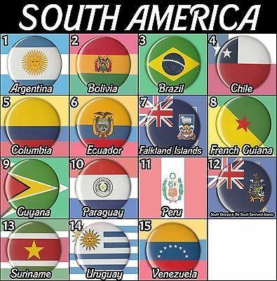 "South America Flags Countries 1.5"" Pinback Buttons Pins Badges Pinbacks Magnets"