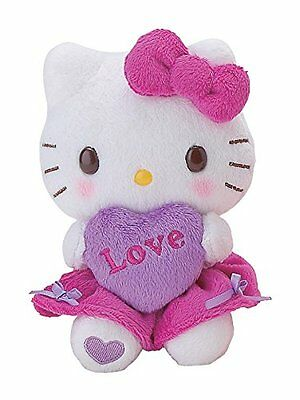 """Hello Kitty Lovely Heart Small Plush Toy 5"""" Heart Collection Lavender"""