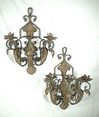 Oversize Pair Of 2' High Mid Century Wrought Iron  3 Arm Painted Candle Sconces