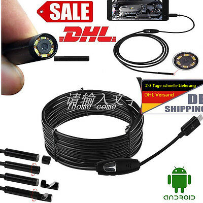 2/5/10m 6 LED 5.5mm 2 In 1 Dual USB Endoscope HD Inspection Camera For Android