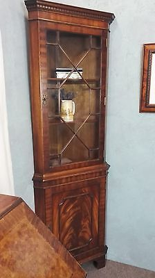 Bevan Funnell Flamed Mahogany Corner Bookcase Display Cabinet