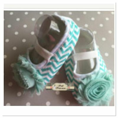 Baby Chevron Shoes With Flower, Crib Shoes, Pre Walker Shoes, Size 9-12 Month 5""