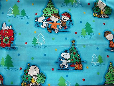 Set of 2 Cotton Pillowcases with Charlie Brown Christmas on Blue! Handmade! NEW!